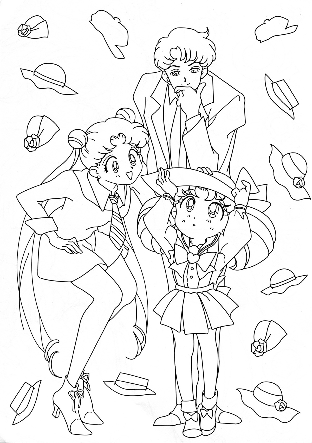 1000 images about coloring pages on pinterest sailor for Sailor moon group coloring pages